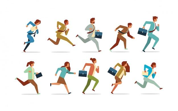 競争の概念の男性女性オフィスワーカーコレクションを実行しているビジネス人々を設定します。