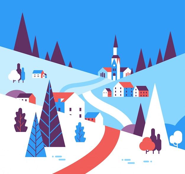 冬の村の家山丘の風景