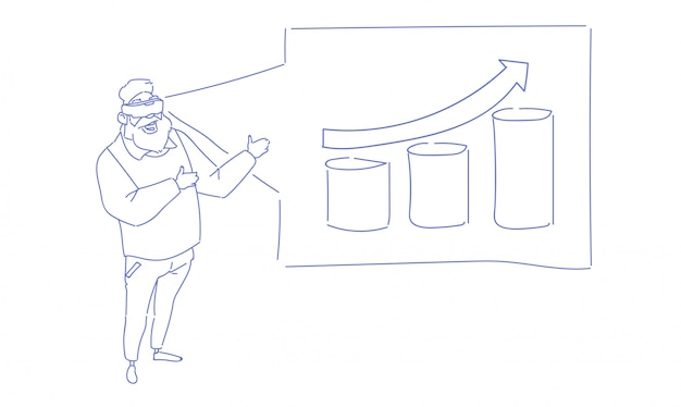 ビジネスマン着用バーチャルリアリティ眼鏡分析財務グラフ矢印アップ金融ビジネスチャートスケッチ落書き