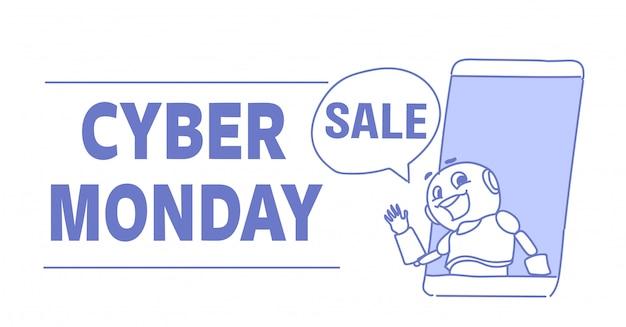 Кибер понедельник продажа милый робот с мобильного экрана онлайн приложение помощь искусственного интеллекта чат пузырь эскиз каракули