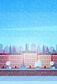 都市の建物の家冬通り都市景観背景メリークリスマス新年あけまして