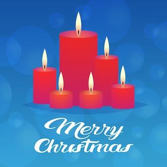 装飾的な赤いキャンドルアイコン新年あけましておめでとうございますメリークリスマス装飾休日グリーティングカードフラット