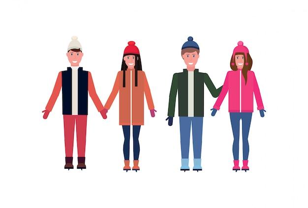 冬服の人々のグループ