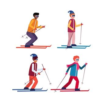Набор мужчин на лыжах