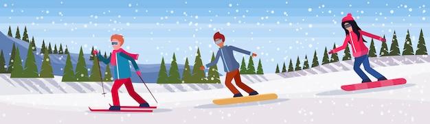 Люди занимаются зимними видами спорта баннер