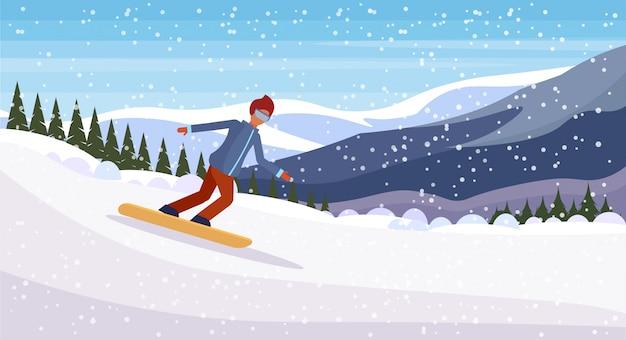 Сноубордист человек сползает с горы