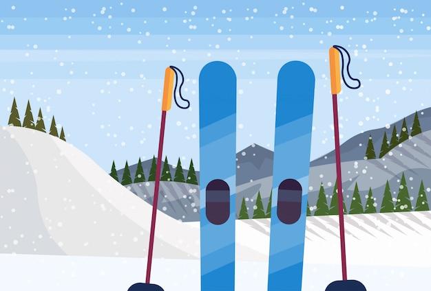 山のスキー用具