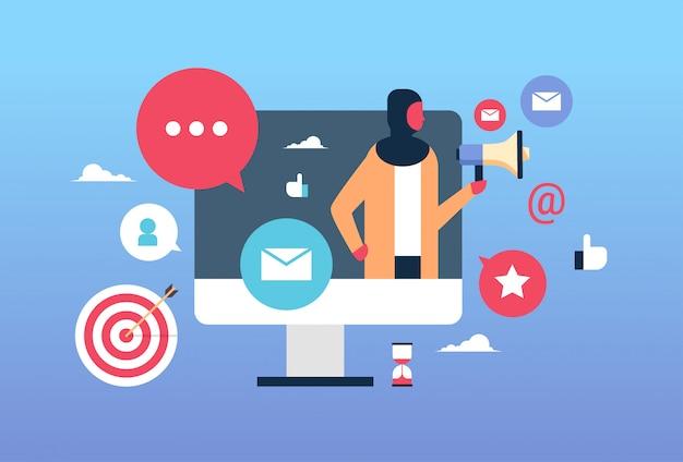 ビジネスの女性とオンラインマーケティングの図