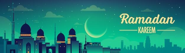 モスクとラマダンカリームバナー