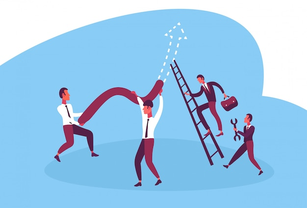 Иллюстрация деловых людей, работающих вместе