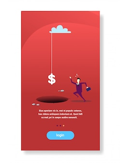 Бизнесмен бежать к знак доллара падение дыра пропасть финансовые проблемы кризис концепция
