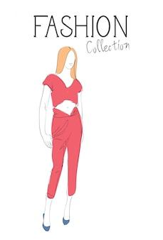 Модная коллекция одежды женская модель в модном эскизе одежды