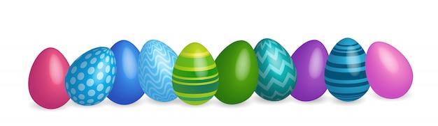 イースター装飾されたカラフルな卵のバナーの背景