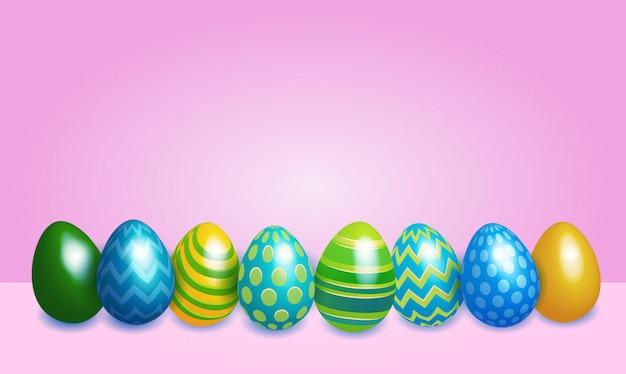 装飾されたカラフルな卵イースターバナーの背景