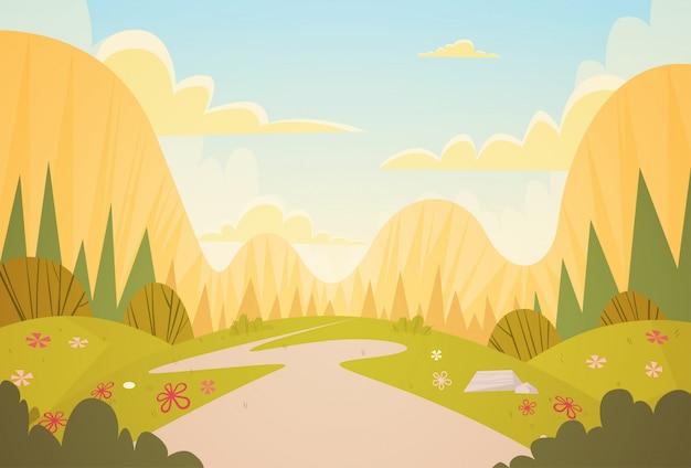 山の範囲春の風景田舎道自然