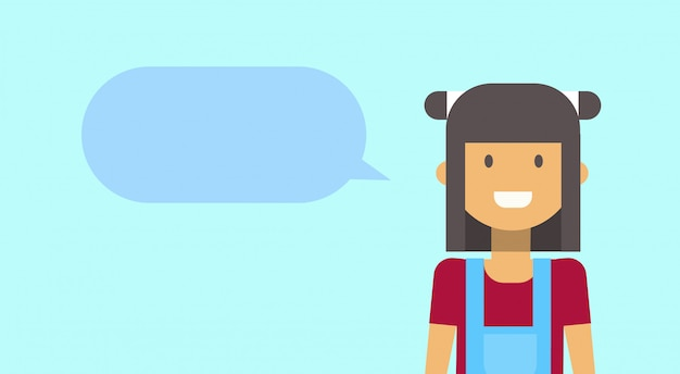 Девочка-подросток, счастливый, улыбается с чат пузырь молодая женщина