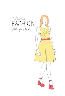 トレンディな服を着て服女性モデルのファッションコレクション