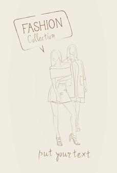 トレンディな服のスケッチを着てモデルの服セットのファッションコレクション