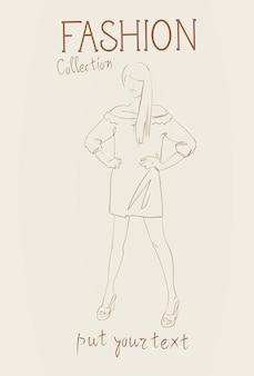 トレンディな服のスケッチを着ている女性モデルの女性服セットのファッションコレクション