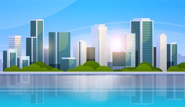 Большой современный город небоскреб панорамный вид