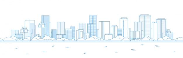大きな近代的な都市の高層ビルのパノラマビュー