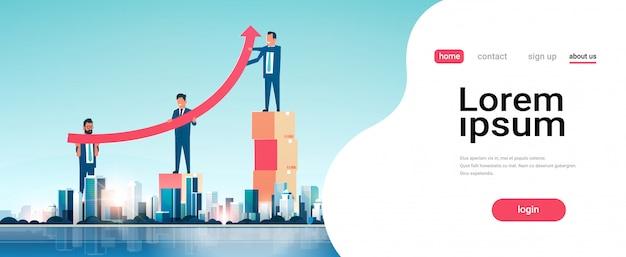 金融矢印を上げるビジネスマングループ