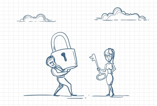 男の心の鍵を持つ女性のスケッチ