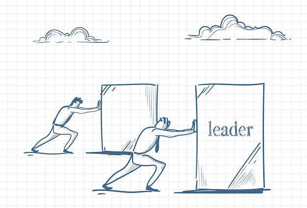 リーダーシップを推進する男性のスケッチ