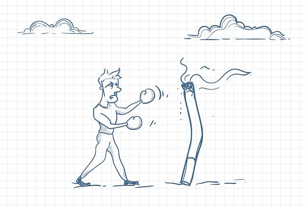 Эскиз человека, борющегося с зависимостью от курения