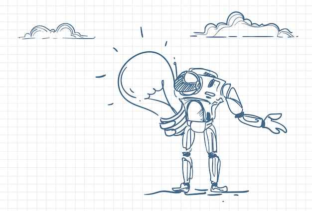 電球を保持しているロボットのスケッチ