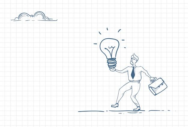 新しいアイデアを持つビジネスマンのスケッチ