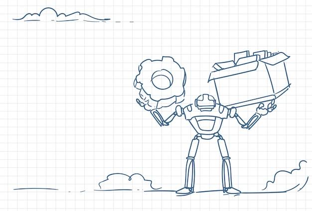 ギアとボックスを保持しているロボットのスケッチ