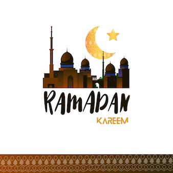 Рамадан карим концепция с мечетью