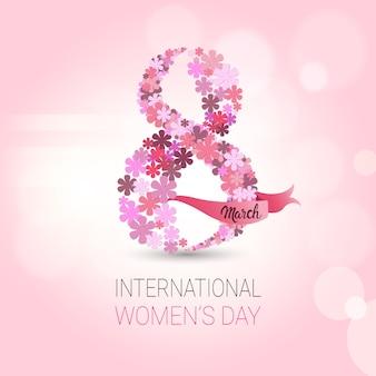 美しい女性の日の背景ピンクのカード春の休日のはがきや招待状のデザイン