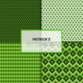 Счастливый день святого патрика бесшовные шаблоны набор зеленых орнаментов фон