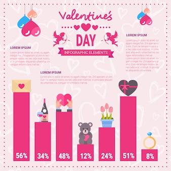 バレンタインの日のインフォグラフィックバナーコピースペースを持つテンプレートピンク背景上のアイコンのセット