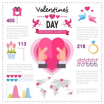 コピースペースでインフォグラフィックバナーが大好きです。ピンクの背景、バレンタインの日の概念上のテンプレート要素アイコンのセット
