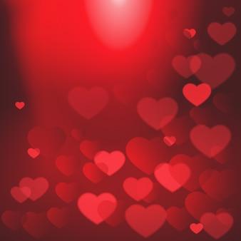光沢のある心ボケバレンタインデーの背景テンプレートポスター