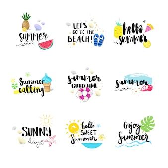 こんにちは夏バッジは、孤立したタイポグラフィデザインラベル、季節休暇のロゴ、テンプレート、招待状、グリーティングカード、版画、ポスターのレタリングを設定します。