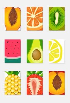 スライスフレッシュフルーツテンプレートカード、白い背景、パンフレットの健康的なライフスタイルやダイエットの概念、フルーツポスター、フラットのロゴに雑誌の表紙の垂直レイアウトを設定します。
