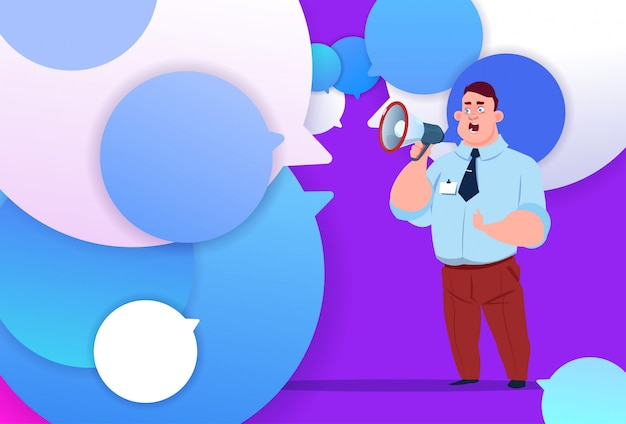 Профиль бизнесмен держать мегафон новая идея чат поддержка пузыри фон мужской эмоция аватар человек мультфильм значок полная длина
