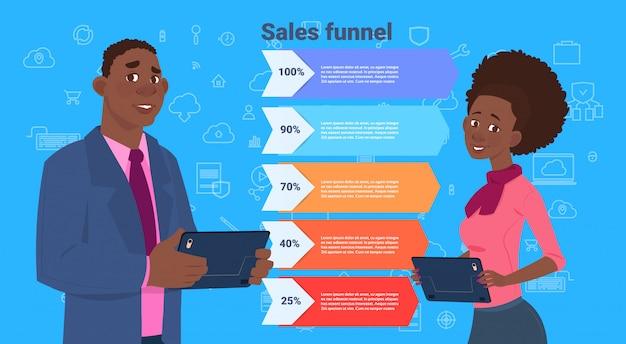 Африканский деловой человек женщина продаж воронка с шагами этапов бизнес инфографики. концепция схемы покупки