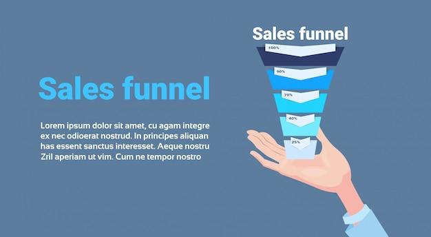 Рука держать воронку продаж с шагами этапов бизнес инфографики. концепция схемы покупки