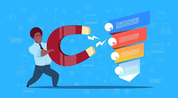 Человек держит магнит продаж воронка этапов бизнес инфографики. концепция схемы покупки