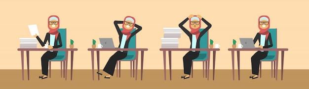 Арабский предприниматель, сидя на рабочий стол в разных позах трудолюбивый бизнес женщина концепция процесса баннер
