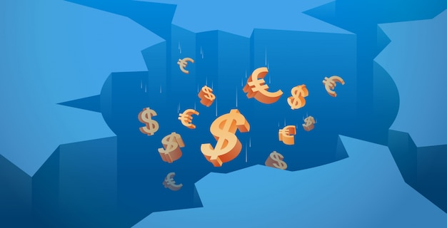 Деньги падающий дыра экономика финансовый кризис концепция банкротства горизонтальный