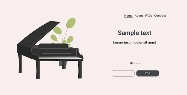 黒グランドピアノアイコン漫画楽器水平