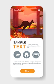 Прыжки дикие животные кенгуру лесные пожары опасные лесные пожары куст огонь горящие деревья стихийное бедствие концепция интенсивное оранжевое пламя смартфон экран мобильное приложение вертикальный