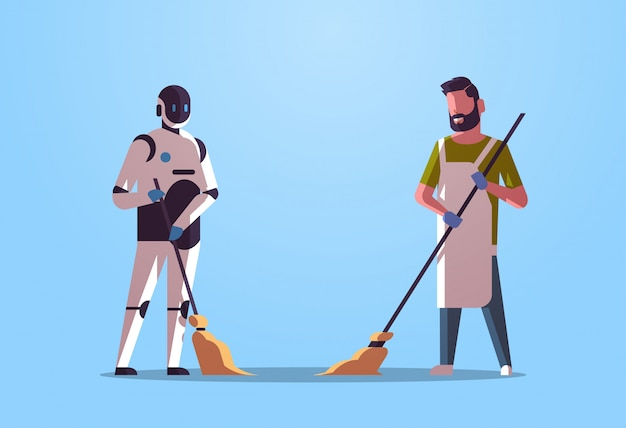 Робот-уборщик с человеком, уборщиком, подметающим и чистящим робот, против человека, стоящего вместе, технология искусственного интеллекта, концепция, плоская, полная, горизонтальная