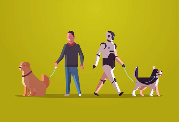 ロボットのキャラクターと犬と一緒に歩いている男ロボット対人間のペットと一緒に立っている人工知能技術コンセプトフラット全長水平